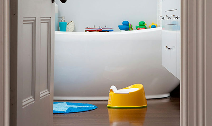 Bathroom containing bath tub and potty seat arranged for a toddler