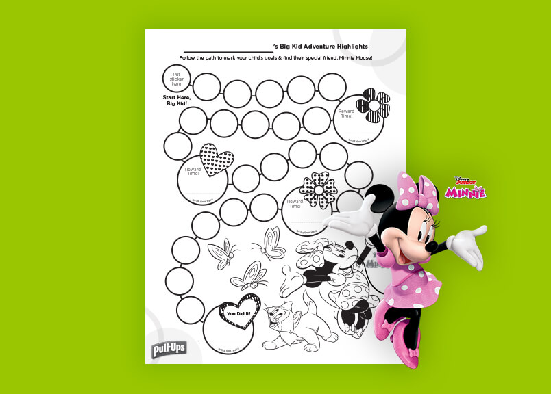 potty training minnie mouse rewards chart for girls