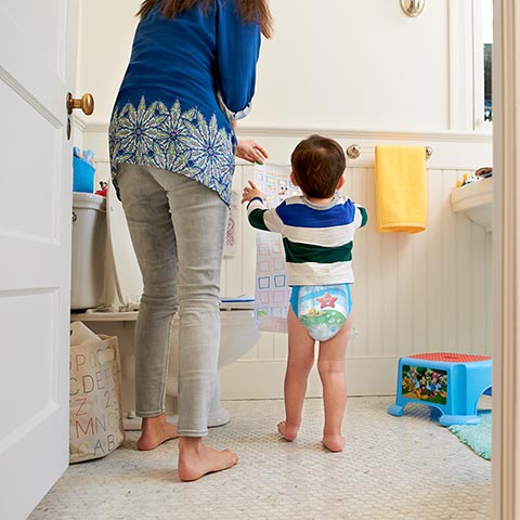 Mom and son in bathroom